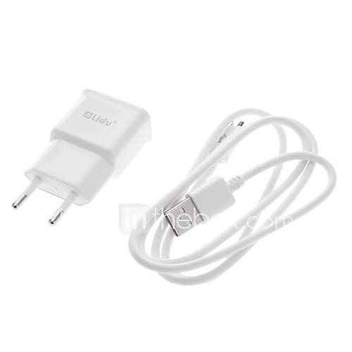 1 Set Weiß EU USB Wall Charger Power Plug  Micro USB Kabel Datum Sync für Samsung Galaxy Note2 N7100/S3/S4