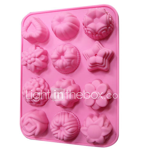 Silicone Cupcake Candy Chocolate Mold 12 Flowers(Random Color)