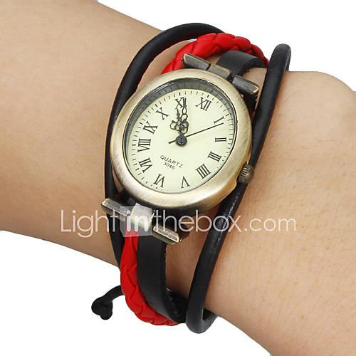 Mujer Reloj de Moda Reloj Pulsera Cuarzo PU Banda Bohemio Negro Blanco Rojo Marrón Caqui Marca Descuento en Miniinthebox