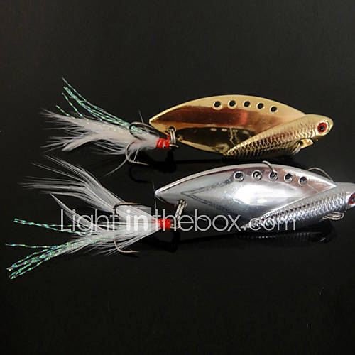 1 pcs Hard Bait Metal Bait Vibration/VIB Fishing Lures Vibration/VIB Hard Bait Metal Bait Gold Silver  g/Ounce40mm mm/