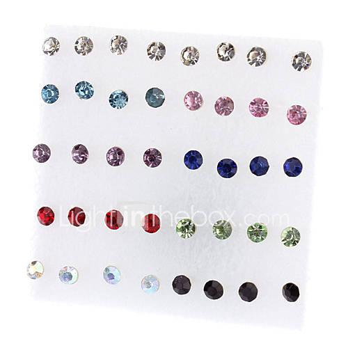 Color de 18 pares de la forma redonda de los pendientes de diamantes de imitación mezclado Descuento en Miniinthebox