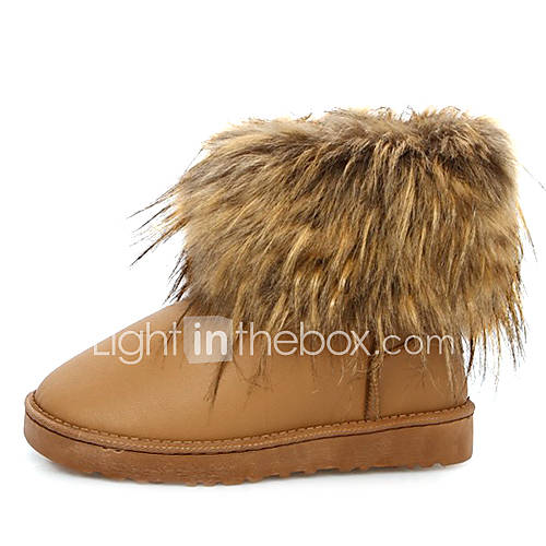 Damen PU Leder Winter Stiefel mit Fell