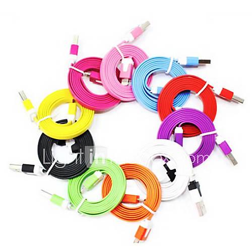 Färgglad nudel Lightning-till-USB-kabel för iPhone 5 (finns i tio färger)