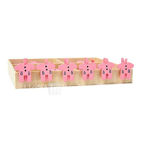 Rosa vestiti modello clip di legno