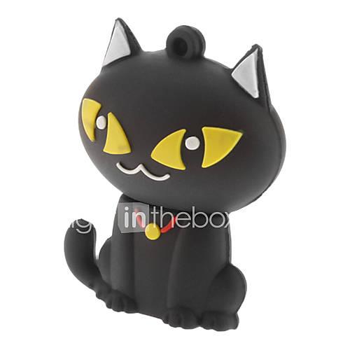 8GB Cute Cat USB Flash Pen Drive Black White