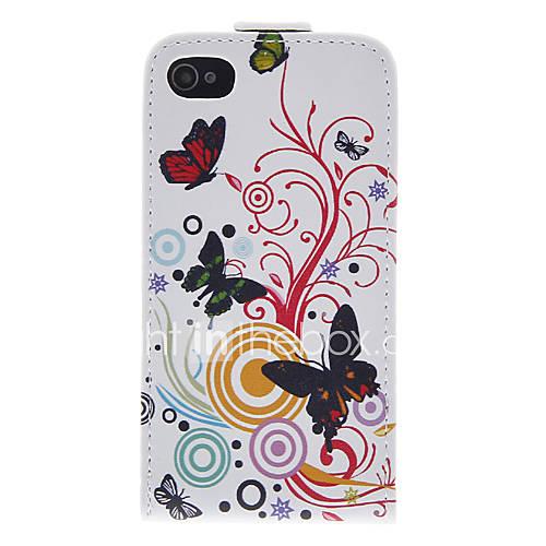 Cas Bady pleine papillon et de fleur en cuir PU pour iPhone 4/4S