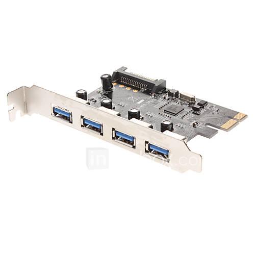 4-Port-USB-3.0-Superspeed-PCI-E PCI-Express-Karte mit 15-poligen SATA-Stromstecker (NEC720201)