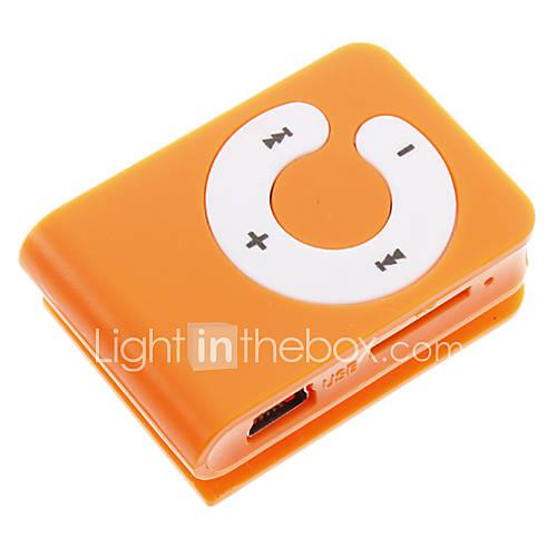TF Card Reader MP3-Player-Tasche mit Clip-Form-orange