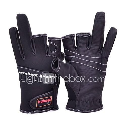 Drei Mitten Leinwand Wasserdicht Schwarz Fishing Glove