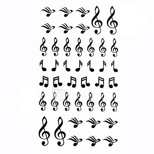 5 Stück Musical Note Wasserdicht Tattoo (10,5 cm  20,5 cm) HM610