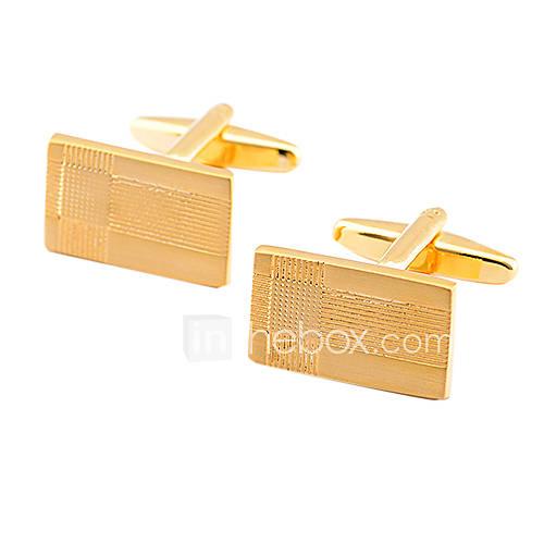 luxuriöse Quadrat Gold vergoldet Manschettenknöpfe (1 Paar)
