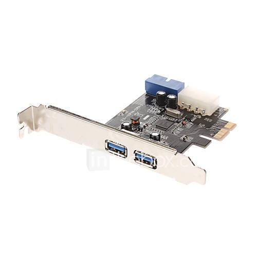 Erweitern mit 2 USB 3.0 Downstream-Ports und ein 20-Pin-USB3.0-Anschluss mit 4-Pin-IDE POEWER Connector (NEC720201) Low Profile Bracket