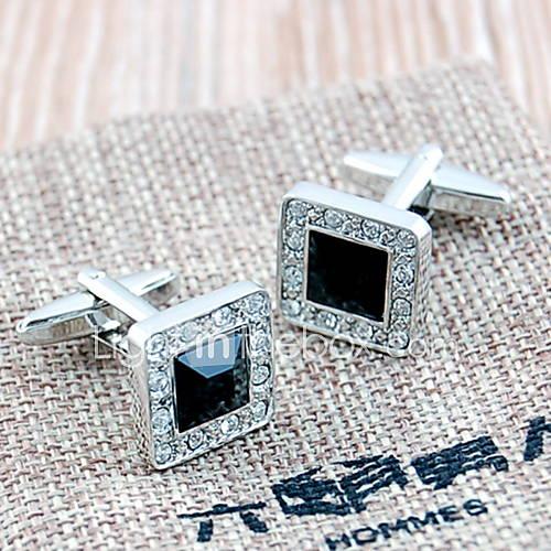 luxuriöse Quadrat versilbert u. Achat Herren Manschettenknöpfe (schwarz, 1 Paar)
