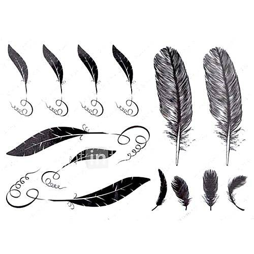 5 Stück Feather Wasserdicht Tattoo (11cm  15cm)