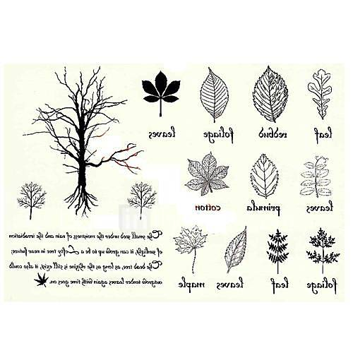 5 Stück Baum VS Blatt Wasserdicht Tattoo (11cm  15cm)
