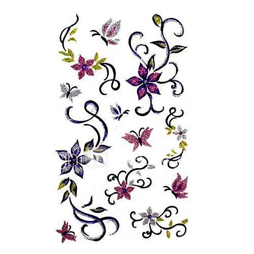 5 Stück Blumen-Wasserdicht Tattoo (9,5 cm  19,5 cm)