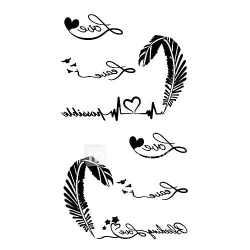 5 Stück liebe Wasserdicht Tattoo (10,5 cm  20,5 cm)