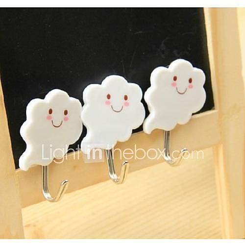 Wolken-Gesichts Tragbare Sticky Hook (3 Stück)