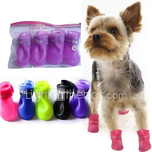 zapatos lindos lluvia mascota botas protectoras para mascotas perros Descuento en Miniinthebox