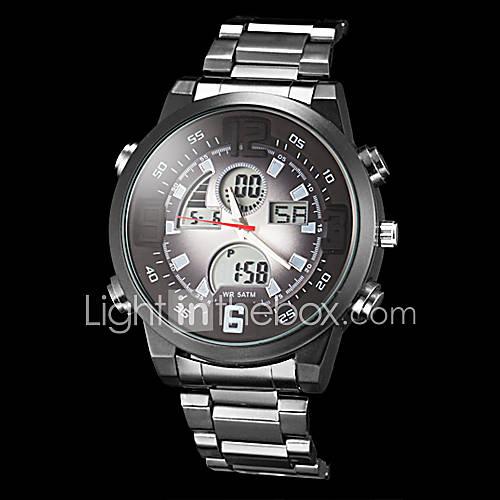 Купить Часы мужские многофункциональные аналогово-цифровые со стальным корпусом и ремешком