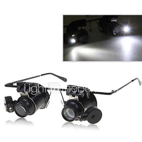 Dual Head 20x Vergrößerung Glas-Art Fernglas Lupe mit LED-Licht für Uhrmacher