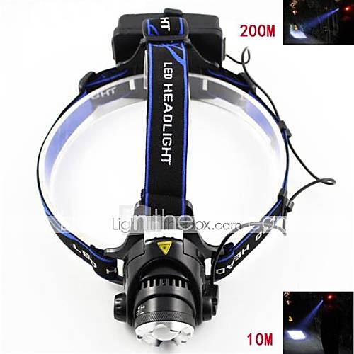 Marsing M11 Cree XM-L T6 3-Mode 900lm Cool White Zooming Headlight - Black  Blue (2 x 18650 Included)