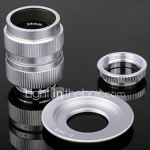 25mm F1.4 Macro CCTV-Objektiv  Ringe  C-M4 / 3 Adapter Ring Set für Olympus / Panasonic Kamera etc - Silber