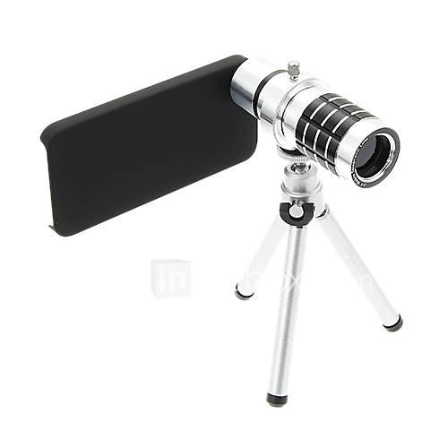 Zoom 12X Tele Aluminium Handyobjektiv mit Stativ für iPhone 5S