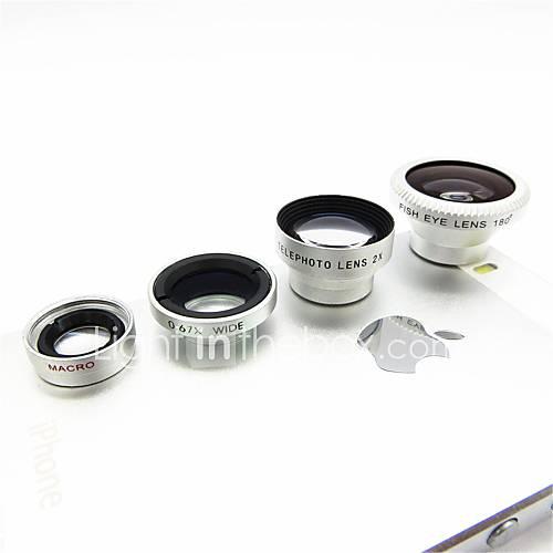 Magnetic 4 in 1 Weitwinkelobjektiv / Makro lens/180 Fish Eye Objektiv / 2X Kit für das iPhone 5/4 / iPad / Handy-Silver
