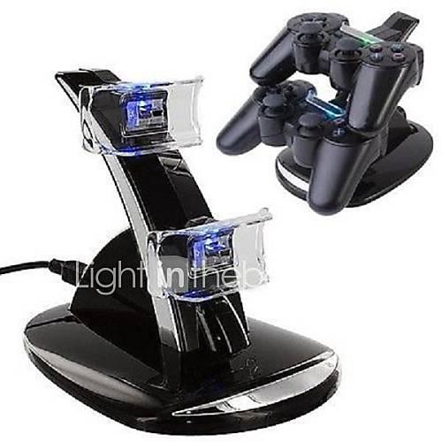 USB dual con LED azul Estación de carga del muelle del soporte para el controlador de PS4 (Negro) Descuento en Miniinthebox