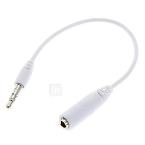 3,5 mm Stecker auf Buchse Weiß Stereo-Audio-Kabel (16cm)