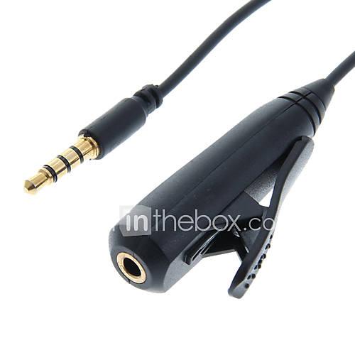 3,5-mm-Stecker auf Buchse Schwarz Stereo-Audio-Kabel mit Clip und Auflegen-Taste (75cm)