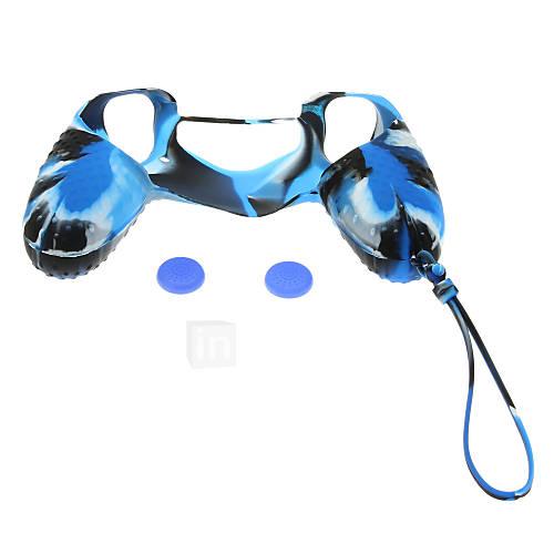 Funda protectora de silicona con la cadena y 2pcs Rocker Gorro Silicona para mando PS4 Descuento en Miniinthebox