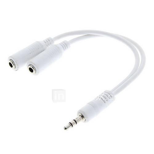 3,5-mm-Stecker auf Dual-Buchsen Audio-Kabel (20cm)