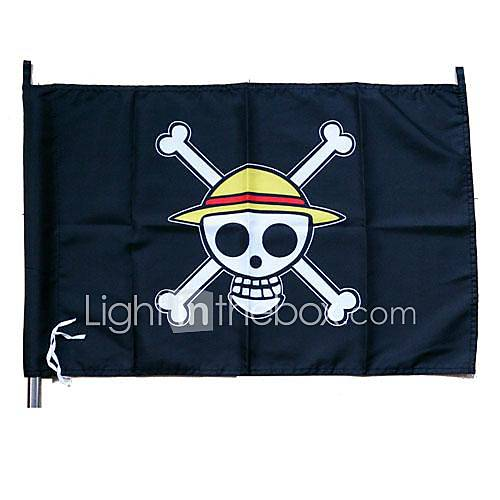 Cosplay Accessories Inspired by One Piece Monkey D. Luffy Anime Cosplay Accessories Flag Black Terylene Male