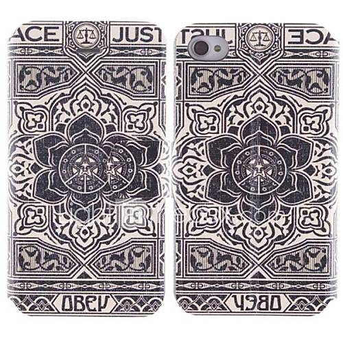 große Blumen-Design pu Ganzkörper-Fall mit Kartenslot für iPhone 4/4S