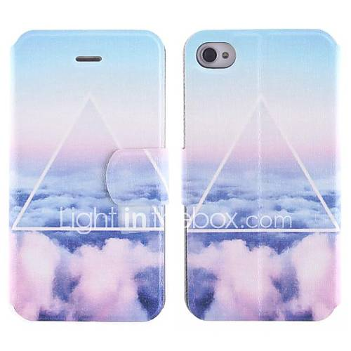 die Wolken Design Ganzkörper-pu Fall mit Kartenslot für iPhone 4/4S