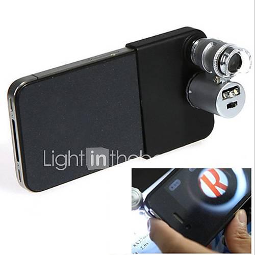 Mini-Mikroskop 60x mit 2-LED-Beleuchtung Währungs-Erkennung UV-Licht für iPhone 5/5S (3  LR1130)