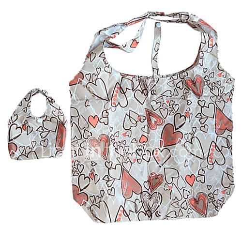 umweltfreundliche bunten Herzen Muster Falten Einkaufstasche