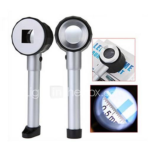 25mm Handheld Lupe 10X mit 3-LED-Weißlicht-und Scale-Kennzeichnung (2 x AA)
