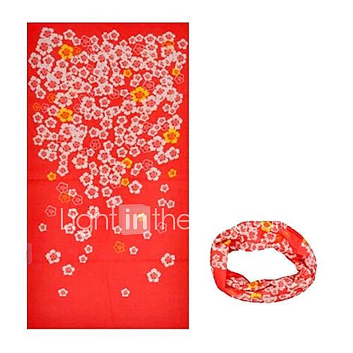 KORAMAN Summer Red Floral Print Thin Anti-UV Sun-proof Cycling Magic Scarf Headband