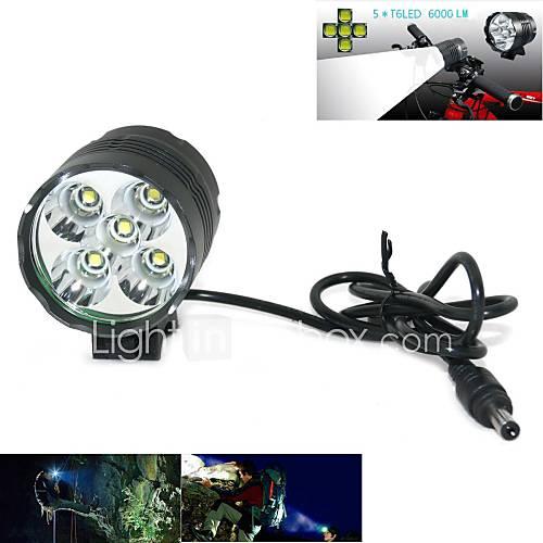 Marsing 5 x Cree XM-L T6 4000lm 3-Mode Cool White LED Bike Light / Headlamp - Black and Grey (618650)
