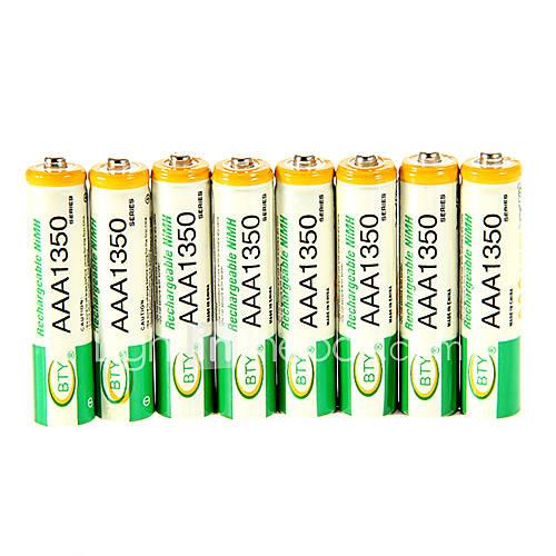 BTY 1.2V 1350mAh Recargable Ni-MH AAA Batería 8 pcs