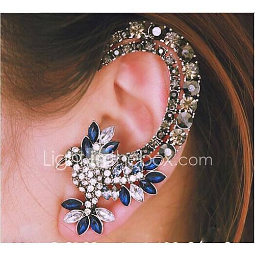 manguitos del oído de la aleación de plata loro diamante europeo (azul) (1 pc) Descuento en Miniinthebox