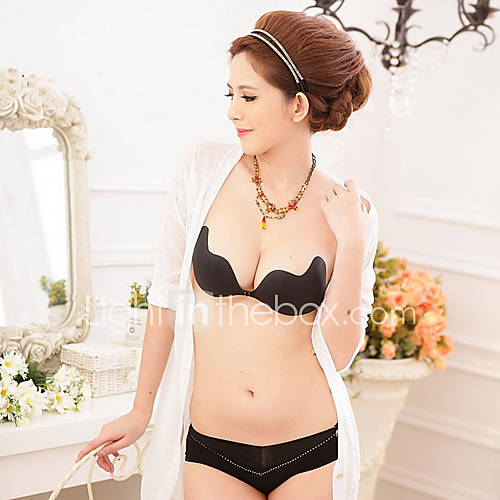Women Sexy Black Silicone Invisible Bra Strapless Adhesive Bra Breast Push-Up NY092