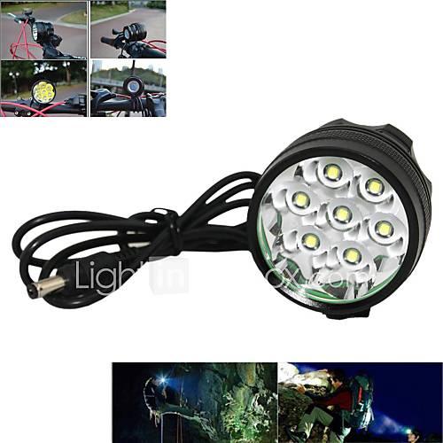 Marsing 7 x CREE XM-L T6 3-Modes 7000lm Cool White LED Bike Light / Headlamp - Black (6 x 18650 Included)