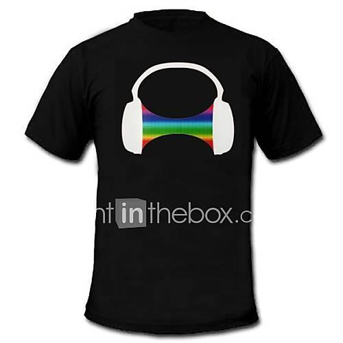 mens luz LED por camiseta sonido de rodadura auriculares y ecualizador activado música para raver barra del grupo Descuento en Miniinthebox