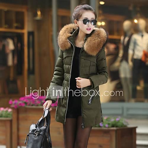 Frauen fashional Isolierung lange Daunenjacke mit großen Pelzkragen