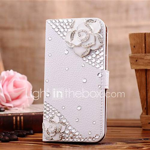 Case For Samsung Galaxy Samsung Galaxy Case Card Holder Rhinestone with Stand Flip Pattern Full Body Cases 3D Cartoon PU Leather for S7