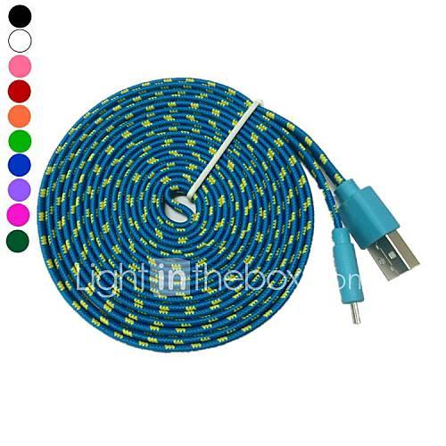 Micro usb fideos plana trenzada de tela cable 3m 10TF sincronización de datos de carga para s4 samsung galaxy s3 (colores surtidos) Descuento en Miniinthebox